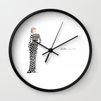 marc johns Wall Clocks featuring Marc Jacobs by Alexandra Schorndorf