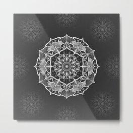 dark gray bw grey mandala pattern design Metal Print