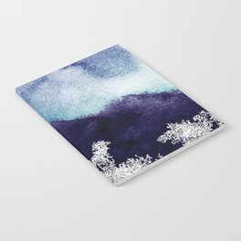 Silver foil on blue indigo paint Notebook