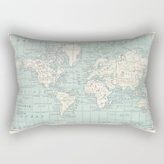 World Map in Blue and Cream Rectangular Pillow