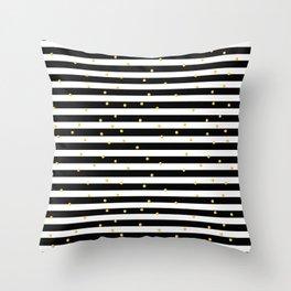 Modern black white gold polka dots striped pattern Throw Pillow