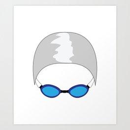 Swim Cap and Goggles Art Print