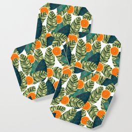 Oranges And Green Leaves Pop Coaster