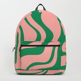 Liquid Swirl Retro Abstract Pattern in Pink and Bright Green Backpack