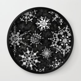 Gray Snowflakes Wall Clock