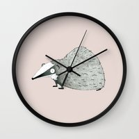 badger Wall Clocks featuring Badger by rhian wright