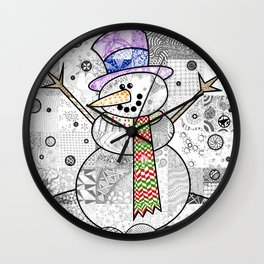 Coloured Snowman Wall Clock