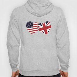 Union Jack British American Flags Heart Hoody