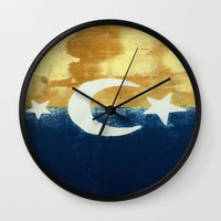 moonrise Wall Clocks featuring Moonrise by Abby Snyder
