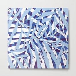 Indigo Palm Tiles Metal Print