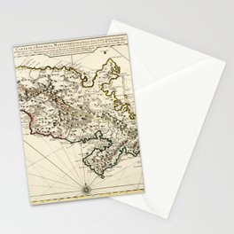 Map Of Martinique 1730 Stationery Cards