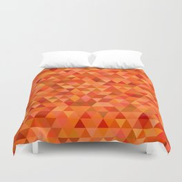Hot orange triangles Duvet Cover