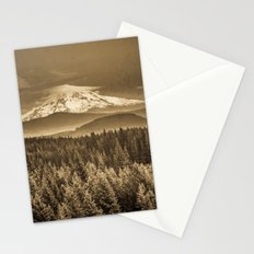 Mountains and Forest - Mt. Hood Sepia Vintage with Trees and Clouds Stationery Cards