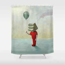 Step-headed Red Child Shower Curtain