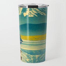 Japanese Woodblock Print Vintage Asian Art Colorful woodblock prints Asano Takeji Lake Shojin Travel Mug