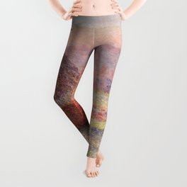 White Frost, Sunrise by Claude Monet Leggings