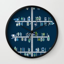 Boat Docks in Blue Greens Wall Clock