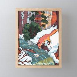 winter stream Framed Mini Art Print