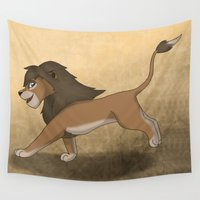 lions Wall Tapestries featuring Running lions by Drawing For Hope