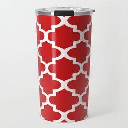Arabesque Architecture Pattern In Red Travel Mug