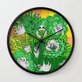 Sloths and Succulents Wall Clock