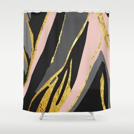 Gold and pale river Shower Curtain