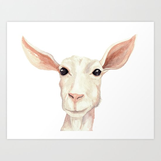 Watercolor Billy Goat Art Print