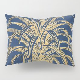 Gold houseplant on navy peony Pillow Sham