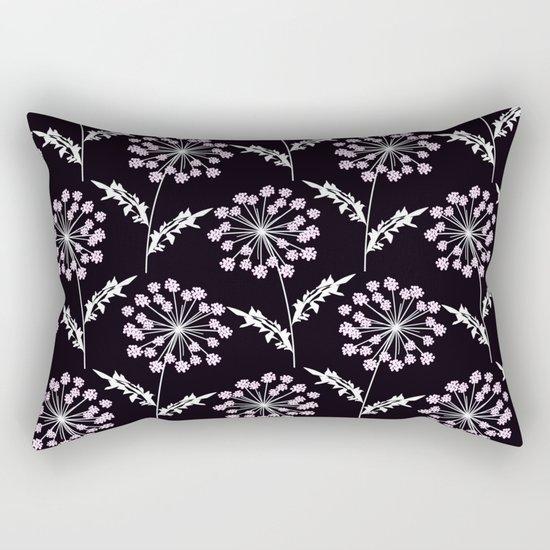 Fishnet pink flowers on a black background. Rectangular Pillow