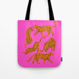 Abstract leopard with red lips illustration in fuchsia background  Tote Bag