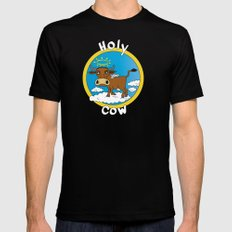 Holy Cow - What you say when surprised MEDIUM Black Mens Fitted Tee