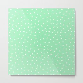 White Sprinkles On Mint Green Metal Print