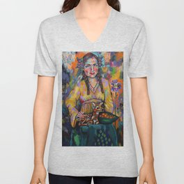 Self-Portrait with Fawn Unisex V-Neck