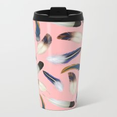Pattern with feathers on a pink background Metal Travel Mug