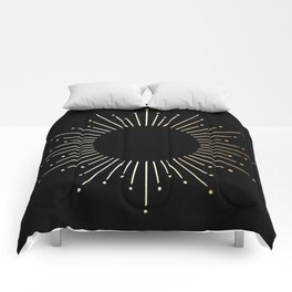 Sunburst Gold Copper Bronze on Black Comforters