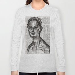 Alert - Charcoal on Newspaper Figure Drawing Long Sleeve T-shirt