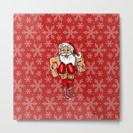 Boxing Santa Metal Print