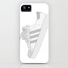 sneaker illustration, shoe drawing, 80s , black and white iPhone Case
