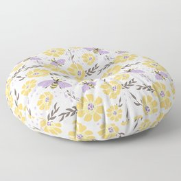 Honey Bees and Flowers - Yellow and Lavender Purple Floor Pillow