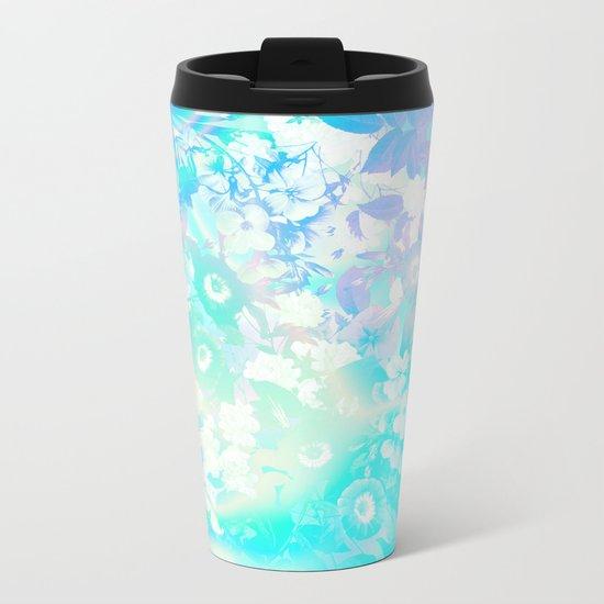 Floral Dream Pastel Hologram Metal Travel Mug