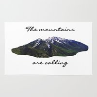 the mountains are calling Area & Throw Rugs featuring The mountains are calling by Jess Paige B