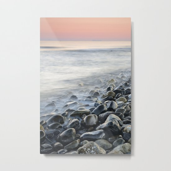 """Bright stones"". Pink sunset Metal Print"