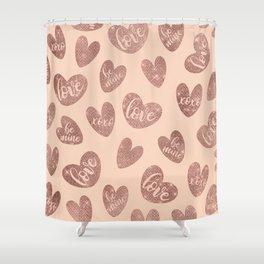 Love XOXO Be Mine Rose Gold Pink Glitter Hearts Shower Curtain