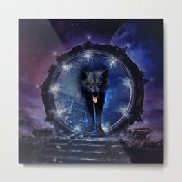 Awesome wolf comes through a gate Metal Print