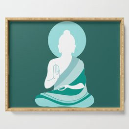 Teal Minimalist Buddha Graphic Serving Tray