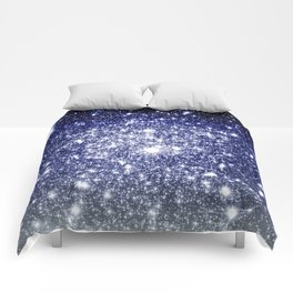 Deep Blue Silver Gray Galaxy Sparkle Ombre Comforters
