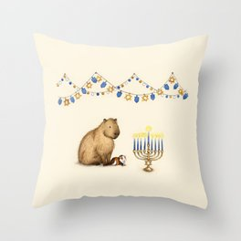 Capy Hanukkah - Capybara and Menorah Throw Pillow