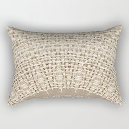 Unique Texture Taupe Burlap Mandala Design Rectangular Pillow