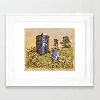 hallion Framed Art Prints featuring Adventure in the Great Wide Somewhere by Karen Hallion Illustrations