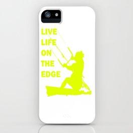 Live Life On The Edge Neon Yellow Kitebeach iPhone Case
